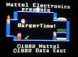 Title screen of Intellivision BurgerTime on television