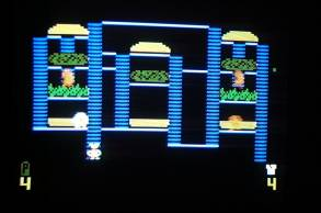 Play screen of Intellivision BurgerTime on television