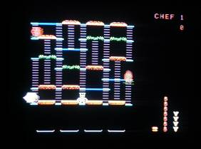 Play screen of ColecoVision BurgerTime on television