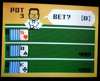 Play screen of Intellivision Las Vegas Poker & Blackjack on television