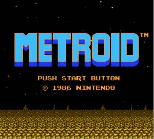 Title screen of Metroid taken from the FCE Ultra NES Emulator.