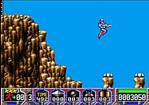 Screenshot of Turrican taken from the WinUAE Emulator.