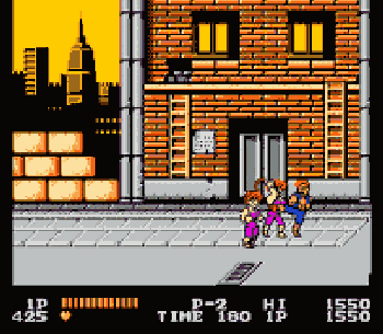 Screenshot of Double Dragon for the NES. Reprinted with permission from The Video Game Museum.