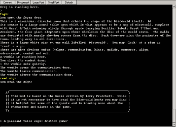 Screenshot of Discworld MUD.