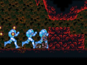 Side scrolling perspective from Super Metroid; Samus is running extremely fast, breaking through a wall