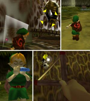 Four different perspectives used in Nintendo's The Legend of Zelda: Ocarina of Time. In a rotating third person perspective focused on Link's right side, Link swings his sword at a giant spider. In a third person perspective with the camera focused behind Link, Link sprints through Kokiri Forest. In third person perspective with the camera focused on the front of Link, Link plays his Ocarina. Finally, in first person perspective, Link aims his slingshot at a smaller spider.