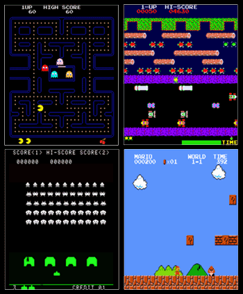 Emulator screenshots of Pac-Man, Frogger, Space Invaders, and Super Mario Bros.