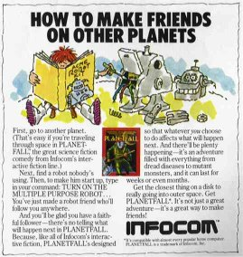 Scan of Infocom's advertisement for Planetfall from Family Computing magazine, August 1984, Volume 2, Number 8