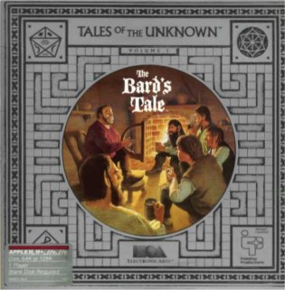 The box cover for the original The Bard's Tale, Tales of the Unknown, Volume I (EA), for the Apple II