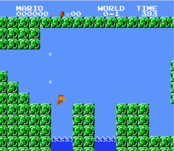 A screenshot of Super Mario Bros..