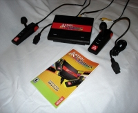 The Atari Flashback console, detachable controllers, audio-video cables and manual
