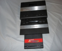 From top to bottom, consoles: Atari 7800, Atari 2600jr and Atari Flashback