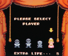 Super Mario Bros 2: The 'Please Select Player' screen, with four selectable characters