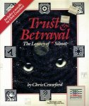 Trust and Betrayal Front Cover - A pair of cat-like eyes sit over a outer space background