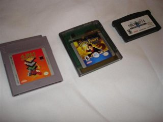 A selection of various Gameboy cartridges spanning multiple hardware generations - 4 in 1 Fun Pack for Gameboy, Harry Potter for Gameboy Color, and Final Fantasy 1 and 2 for Gameboy Advance