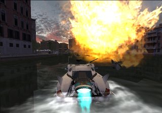 Spy Hunter for PS2 - A car that is also a boat driving on the water and running under a huge explosion