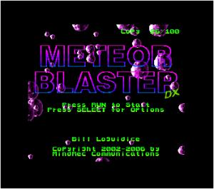 Meteor Blaster DX title screen, featuring customization
