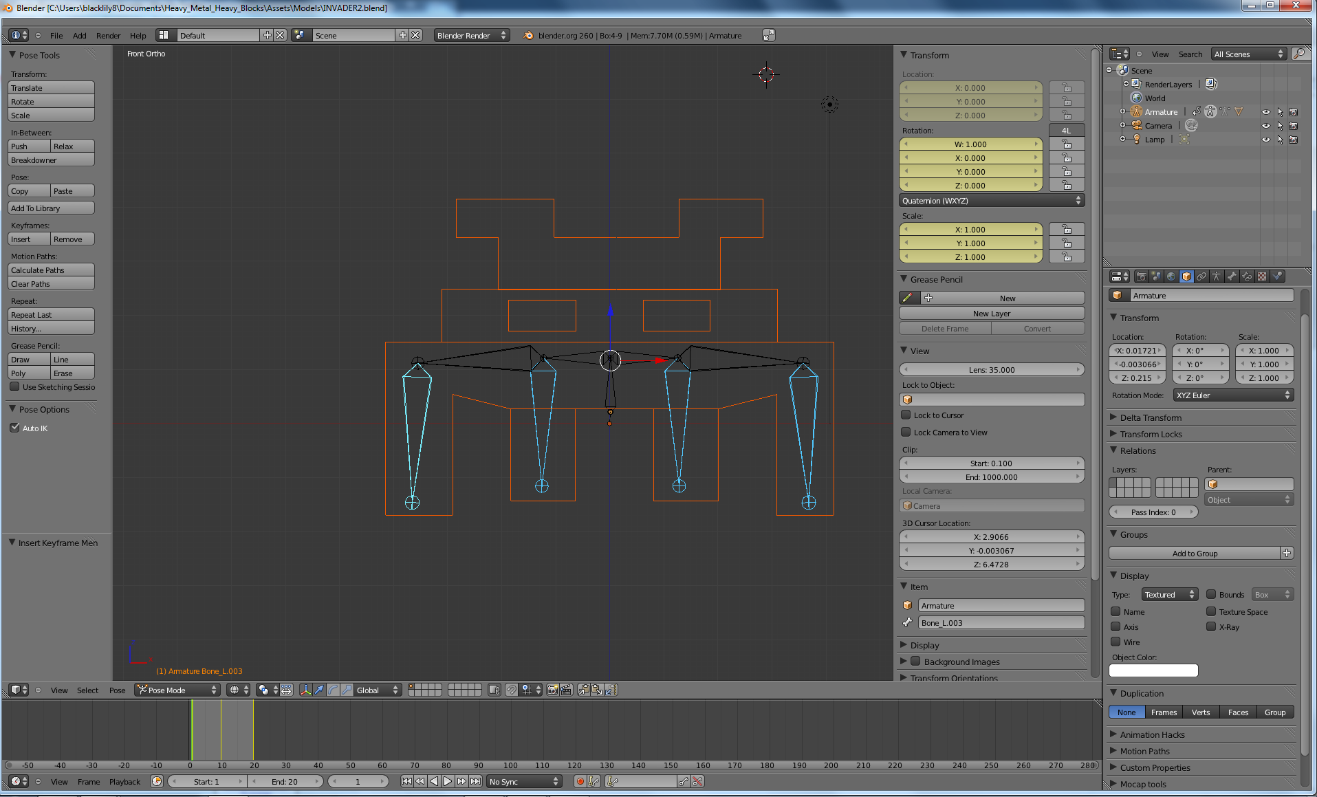 animating an invader