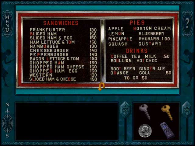 Nancy Drew: menu